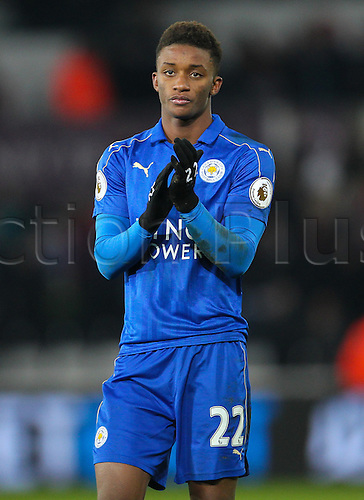 February 12th 2017, Liberty Stadium, Swansea, Wales; Premier league football, Swansea versus Leicester City; Leicester City's Demarai Gray shows his disappointment after his side loses 2-0 against Swansea City