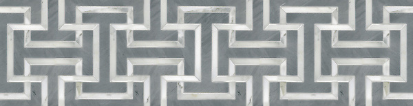 """10 3/8"""" Windsor border, a hand-cut stone mosaic, shown in polished Bardiglio and honed Calacatta Tia, is part of the Silk Road® collection by New Ravenna."""