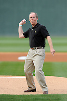 Greenville Mayor Knox White throws out the first pitch in a game between the Greenville Drive and Augusta GreenJackets on Opening Day, Thursday, April 9, 2015, at Fluor Field at the West End in Greenville, South Carolina. (Tom Priddy/Four Seam Images)