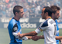 Sam Cronin (left) shakes hands with Landon Donovan (right) before the game. The San Jose Earthquakes defeated the LA Galaxy 1-0 at Buck Shaw Stadium in Santa Clara, California on August 21st, 2010.