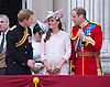 KATE, PRINCE HARRY AND PRINCE WILLIAM<br /> appear on the balcony of Buckingham Palace to watch the Royal Air Force Flypast as part of the Trooping of the Colour, London_15th June 2013<br /> The annual event marks the Queen's Official Birthday.<br /> Photo Credit: &copy;Dias/NEWSPIX INTERNATIONAL<br /> <br /> **ALL FEES PAYABLE TO: &quot;NEWSPIX INTERNATIONAL&quot;**<br /> <br /> PHOTO CREDIT MANDATORY!!: NEWSPIX INTERNATIONAL<br /> <br /> IMMEDIATE CONFIRMATION OF USAGE REQUIRED:<br /> Newspix International, 31 Chinnery Hill, Bishop's Stortford, ENGLAND CM23 3PS<br /> Tel:+441279 324672  ; Fax: +441279656877<br /> Mobile:  0777568 1153<br /> e-mail: info@newspixinternational.co.uk