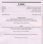 Program for the Opening Night Performance Curtain Call for the Manhattan Theatre Club's 'Murder Ballad' at MTC in New York City on 11/15/2012