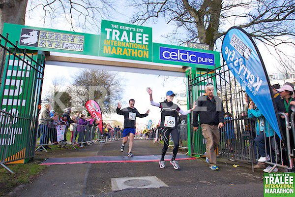 0351 Mike Loughlin  and 0140 Linda Davis pictured at the finish line of  the Kerry's Eye, Tralee International Marathon on Saturday March 16th 2013.