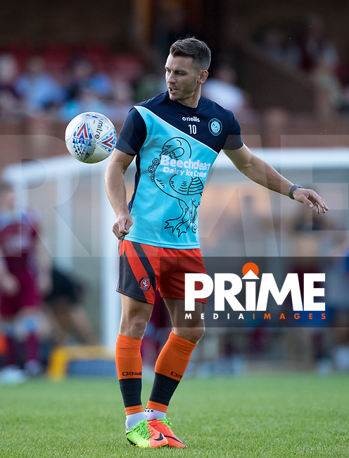 Matt Bloomfield of Wycombe Wanderers warms up during the 2018/19 Pre Season Friendly match between Chesham United and Wycombe Wanderers at the Meadow , Chesham, England on 24 July 2018. Photo by Andy Rowland.