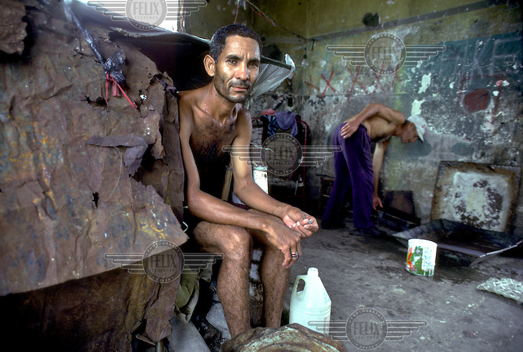 DOMINICAN REPUBLIC.One of 90 squatter families living in the ruins of the Santo Domingo mansion once belonging to the former dictator Trujillo