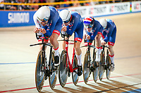 Picture by Alex Whitehead/SWpix.com - 01/03/2018 - Cycling - 2018 UCI Track Cycling World Championships, Day 2 - Omnisport, Apeldoorn, Netherlands - Kian Emadi, Charlie Tanfield, Ethan Hayter and Ed Clancy of Great Britain win Gold in the Men's Team Pursuit final.