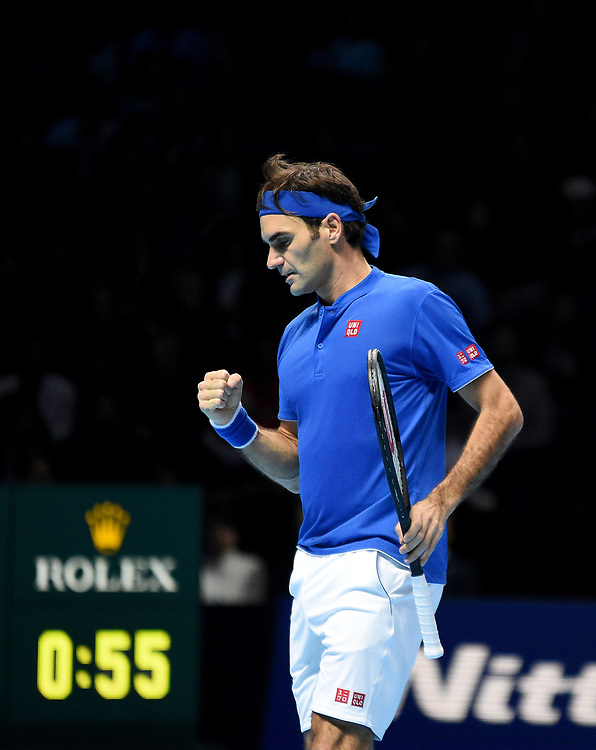 Roger Federer in action against Alexander Zverev in their Semi finals match <br /> <br /> Photographer Hannah Fountain/CameraSport<br /> <br /> International Tennis - Nitto ATP World Tour Finals Day 7 - O2 Arena - London - Saturday 17th November 2018<br /> <br /> World Copyright © 2018 CameraSport. All rights reserved. 43 Linden Ave. Countesthorpe. Leicester. England. LE8 5PG - Tel: +44 (0) 116 277 4147 - admin@camerasport.com - www.camerasport.com