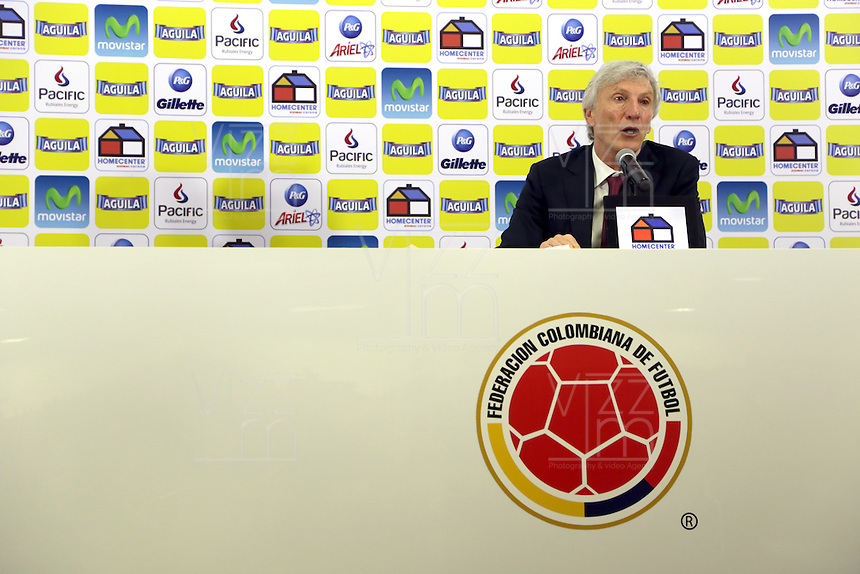 BOGOTA -COLOMBIA, 16- 04-2014. Conferencia de prensa ofrecida por José Pekerman director tecnico de la seleccion Colombia de futbol de mayores sobre el plan de trabajo previo al mundial de Brasil-2014  en la sede deportiva de las selecciones Colombia de la FCF. Press conference by José Pekerman coach of Colombia's soccer selection higher on previous work plan to 2014 World Cup in Brazil-based sports selections Colombia FCF. Photo: VizzorImage / Stringer