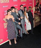 Edgar Wright, Ansel Elgort, Lily James, Jon Hamm, Eiza Gonzalez &amp; Jaime Foxx at the Los Angeles premiere for &quot;Baby Driver&quot; at the Ace Hotel Downtown. <br /> Los Angeles, USA 14 June  2017<br /> Picture: Paul Smith/Featureflash/SilverHub 0208 004 5359 sales@silverhubmedia.com
