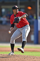 Kannapolis Intimidators starting pitcher Jake Sanchez #33 delivers a pitch during a game against the  Asheville Tourists at McCormick Field on June 7, 2014 in Asheville, North Carolina. The Tourists defeated the Intimidators 7-5. (Tony Farlow/Four Seam Images)