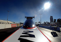 Jan. 16, 2014; Jupiter, FL, USA: Onboard camera view as NHRA top fuel dragster driver Antron Brown during testing at the PRO Winter Warmup at Palm Beach International Raceway. Mandatory Credit: Mark J. Rebilas-USA TODAY Sports