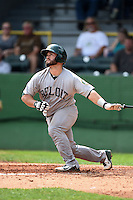 Beloit Snappers catcher Josh Ludy (32) hits a home run during a game against the Clinton LumberKings on August 17, 2014 at Ashford University Field in Clinton, Iowa.  Clinton defeated Beloit 4-3.  (Mike Janes/Four Seam Images)