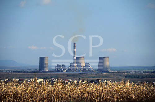 Hungary. Mátra power station in rural setting.