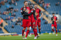 BLACKBURN, ENGLAND - JANUARY 24:   Gylfi Sigurosson of Swansea City Celebrates with Modou Barrow of Swansea City during  the FA Cup Fourth Round match between Blackburn Rovers and Swansea City at Ewood park on January 24, 2015 in Blackburn, England.  (Photo by Athena Pictures/Getty Images)