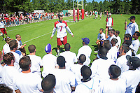 Jul 30, 2008; Flagstaff, AZ, USA; Arizona Cardinals quarterback (7) Matt Leinart speaks to a high school football team during training camp on the campus of Northern Arizona University. Mandatory Credit: Mark J. Rebilas-