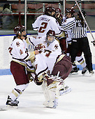 Maggie Taverna (Boston College - 10), Molly Schaus (Boston College - 30), Allie Thunstrom (Boston College - 9) - The Boston College Eagles defeated the Harvard University Crimson 1-0 to win the Beanpot on Tuesday, February 10, 2009, at Matthews Arena in Boston, Massachusetts.