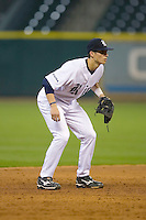 Shortstop Rick Hauge #11 of the Rice Owls on defense versus the UCLA Bruins in the 2009 Houston College Classic at Minute Maid Park February 27, 2009 in Houston, TX.  The Owls defeated the Bruins 5-4 in 10 innings. (Photo by Brian Westerholt / Four Seam Images)