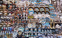 Street vendor display of souvenirs, Rome, Italy