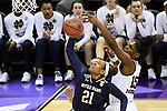 COLUMBUS, OH - APRIL 1: Kristina Nelson #21 of the Notre Dame Fighting Irish tries to take a shot as Teaira McCowan #15 of the Mississippi State Bulldogs defends during the championship game of the 2018 NCAA Division I Women's Basketball Final Four at Nationwide Arena in Columbus, Ohio. (Photo by Tim Nwachukwu/NCAA Photos via Getty Images)
