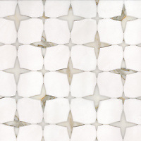 Michael, a waterjet stone mosaic, shown in honed Thassos and polished Calacatta Gold.