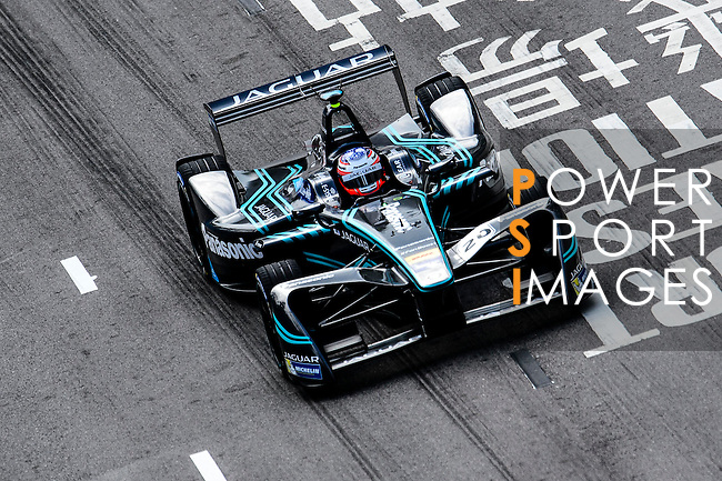 Mitch Evans of Panasonic Jaguar Racing during the first stop of the FIA Formula E Championship HKT Hong Kong ePrix at the Central Harbourfront Circuit on 9 October 2016, in Hong Kong, China. Photo by Marcio Rodrigo Machado / Power Sport Images