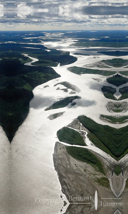 The Yukon River's many channels gleam in the sun north of Fairbanks, Alaska.