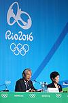 (L-R)  JOCTsunekazu Takeda, Yuriko Koike, <br /> AUGUST 20, 2016  : <br /> Yuriko Koike attends a press conference <br /> at Main Press Center <br /> during the Rio 2016 Olympic Games in Rio de Janeiro, Brazil. <br /> (Photo by Yohei Osada/AFLO SPORT)