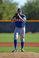 Texas Rangers pitcher Adam Parks (12) during an instructional league game against the San Diego Padres on October 9, 2015 at the Surprise Stadium Training Complex in Surprise, Arizona.  (Mike Janes/Four Seam Images)