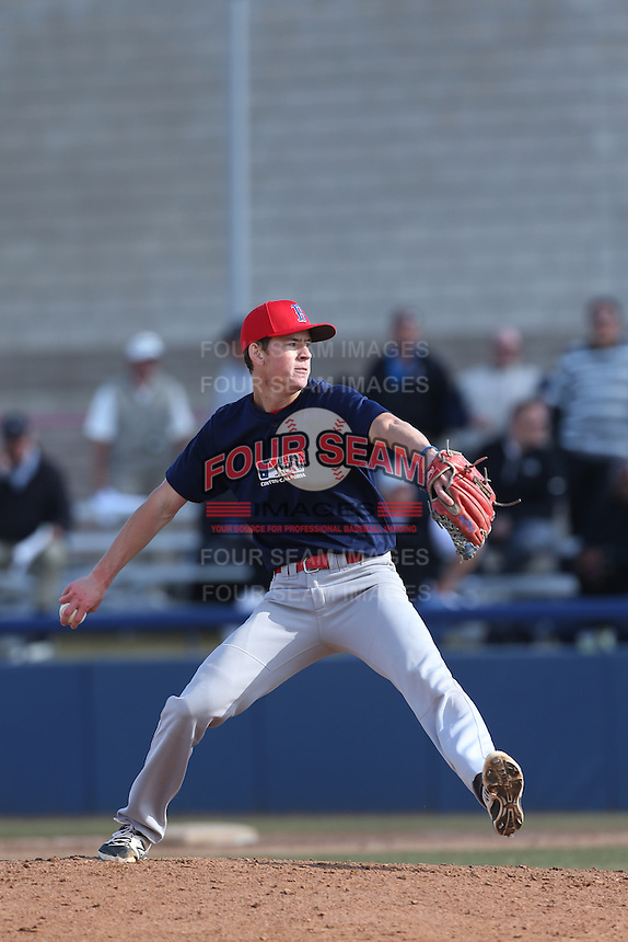 Michael Bono of Buchanan High School in Fresno, California during the MLBS Southern California Invitational Workout at the Urban Youth Academy on February 14, 2014 in Compton, California. (Larry Goren/Four Seam Images)