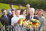 Mark Doe from Just Cooking Kerry and Mark Sullivan from Ballyroe Hotel at the launch of the Cookery Demonstration which takes place on October 11th in the Ballyroe Hotel. Also pictured were: Jonathan Collins, Christina James, Mary O'Leary, Sinead McCarthy, Gene Lacey, Mick McCarthy, Justin James and Danny Leane.
