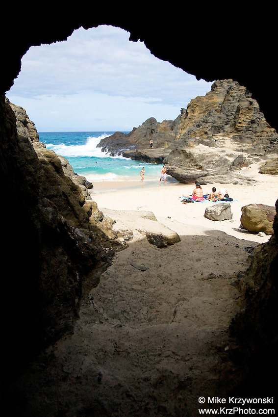 View from inside a cave at Holona Beach aka From Here to Eternity, Honolulu, Oahu, Hawaii