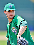 4 July 2012: Vermont Lake Monsters pitcher Nate Eppley warms up prior to a game against the Hudson Valley Renegades at Centennial Field in Burlington, Vermont. The Lake Monsters edged out the Renegades the Cyclones 2-1 in NY Penn League action. Mandatory Credit: Ed Wolfstein Photo