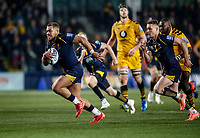 25th January 2020; Sixways Stadium, Worcester, Worcestershire, England; Premiership Rugby, Worcester Warriors versus Wasps; Ollie Lawrence of Worcester Warriors breaks free to score a try