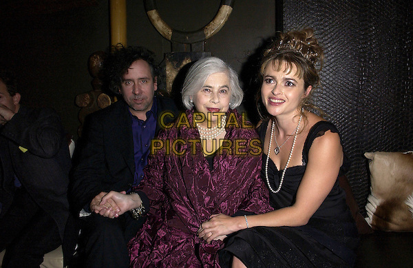"TIM BURTON, MOTHER & HELENA BONHAM CARTER.""Corpse Bride"" After Party.October 17th, 2005.Ref: FIN.half length celebrity couple son daughter in law family holding hands.www.capitalpictures.com.sales@capitalpictures.com.© Capital Pictures."