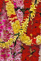 Carnation and orchids leis for sale at an outdoor display during a high school graduation
