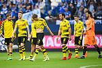 15.04.2018, VELTINS Arena, Gelsenkirchen, Deutschland, GER, 1. FBL, FC Schalke 04 vs. Borussia Dortmund, im Bild Marcel Schmelzer (#29 Dortmund), Marco Reus (#11 Dortmund), Andre Sch&uuml;rrle / Schuerrle (#21 Dortmund), Mario G&ouml;tze / Goetze (#10 Dortmund), Christian Pulisic (#22 Dortmund), Roman B&uuml;rki / Buerki (#38 Dortmund) entt&auml;uscht / enttaeuscht / traurig nach Niederlage<br /> <br /> Foto &copy; nordphoto / Kurth