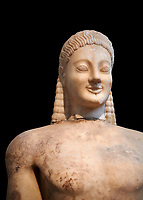 Parian marble Ancient Greek Archaic statue of a kouros, found in Volomandra, Attica. Circa 560-550 BC, Athens National Archaeological Museum. Cat no 1906.  Against black<br /> <br /> Probably from the grave of an athenian aristocrat