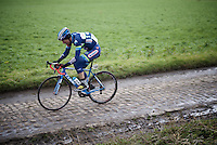 Kevin Van Melsen (BEL/Wanty-Groupe Gobert) over the cobbles<br /> <br /> GP Samyn 2016