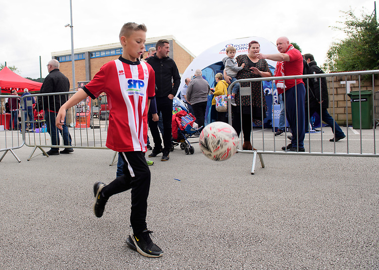 Lincoln City fans enjoy the pre-match atmosphere in the fan zone<br /> <br /> Photographer Chris Vaughan/CameraSport<br /> <br /> The EFL Sky Bet League One - Lincoln City v Sunderland - Saturday 5th October 2019 - Sincil Bank - Lincoln<br /> <br /> World Copyright © 2019 CameraSport. All rights reserved. 43 Linden Ave. Countesthorpe. Leicester. England. LE8 5PG - Tel: +44 (0) 116 277 4147 - admin@camerasport.com - www.camerasport.com