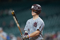 Tanner Allen (5) of the Mississippi State Bulldogs at bat against the Sam Houston State Bearkats during game eight of the 2018 Shriners Hospitals for Children College Classic at Minute Maid Park on March 3, 2018 in Houston, Texas. The Bulldogs defeated the Bearkats 4-1.  (Brian Westerholt/Four Seam Images)