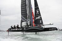 SoftBank Team Japan surges past Emirates Team New Zealand during day two of the Louis Vuitton America's Cup World Series racing, Portsmouth, United Kingdom. (Photo by Rob Munro/Stewart Communications)