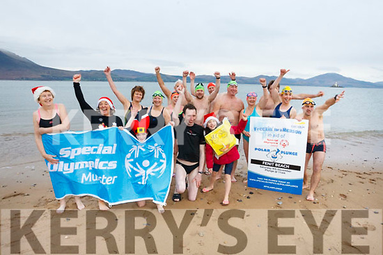 Taking the Polar Plunge in aid of the Special Olympics at Fenit on Saturday morning.