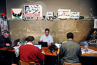 Media and foreign press at work at a special media centre. On 17 February 2011 Libya saw the beginnings of a revolution against the 41 year regime of Col Muammar Gaddafi.