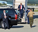 WEST PALM BEACH, FL - FEBRUARY 17: U.S. President Donald J. Trump arrives on Air Force One at the Palm Beach International Airport as they prepare to spend part of the weekend at Mar-a-Lago resort on February 17, 2017 in West Palm Beach, Florida. After touring and meeting with Dennis Muilenburg Chairman of the Board, President, and CEO of the Boeing Company. also president Trump planning to hold a campaign rally tomorrow at Melbourne Florida. ( Photo by Johnny Louis / jlnphotography.com )