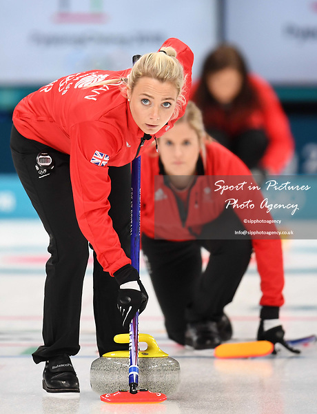 Anna Sloan (GBR) and Vicki Adams (GBR). Womens Curling training. Pyeongchang2018 winter Olympics Gangneung curling centre. Gangneung. Republic of Korea. 12/02/2018. ~ MANDATORY CREDIT Garry Bowden/SIPPA - NO UNAUTHORISED USE - +44 7837 394578
