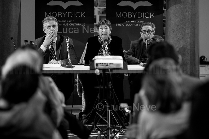 """(From L to R) Di Matteo, Resta, Lodato.<br /> <br /> Rome, 08/02/19. Moby Dick Library in Garbatella & Antimafia Duemila(2.) held the presentation of the book """"Il Patto Sporco"""" (The Dirty Pact. The Trial State-mafia in the Story [narrated] by his Protagonist, Chiarelettere,1.) hosted by the author of the book Saverio Lodato (Journalist & Author), Antonino 'Nino' Di Matteo (Protagonist of the book, Antimafia Magistrate of Palermo, member of the DNA - Antimafia & Antiterrorism National Directorate - who """"prosecuted the Italian State for conspiring with the Mafia in acts of murder & terror"""",3.4.5.6.) & Giorgio Bongiovanni (Editor of Antimafia Duemila). Chair of the event was Silvia Resta (Journalist & Author). Readers were: Bianca Nappi & Carlotta Natoli (both Actresses). From the back cover of the book: """"Let us ask ourselves why politics, institutions, culture, have needed the words of judges to finally begin to understand…A handful of magistrates and investigators have shown not to be afraid to prosecute the [Italian] State. Now others must do their part too"""" (Nino Di Matteo). """"In the pages of this book I wanted the magistrate, the man, the protagonist and the witness to speak about a trial destined to leave its mark"""" (Saverio Lodato). From the book online page: """"The attacks to Lima [politician], Falcone & Borsellino [Judges], the bombs in Milan, Florence, Rome, the murders of valiant police commissioners & officers of the carabinieri. The [Ita] State on its knees, its best men sacrificed. However, while the blood of the massacres was still running there were those who, precisely in the name of the State, dialogued and interacted with the enemy. The sentence of condemnation of Palermo [""""mafia-State negotiation"""" trial which is told in the book], against the opinion of many 'deniers', proved that the negotiation not only was there but did not avoid more blood. On the contrary, it provoked it""""(1.).<br /> Footnotes & links provided at 2nd & last page."""
