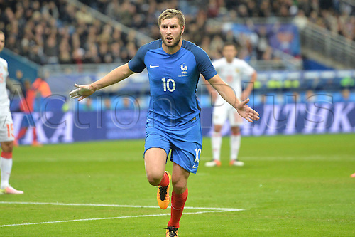 29.03.2016. Stade de France, Paris, France. International football friendly. France versus Russia.  ANDRE PIERRE GIGNAC celebrates his goal