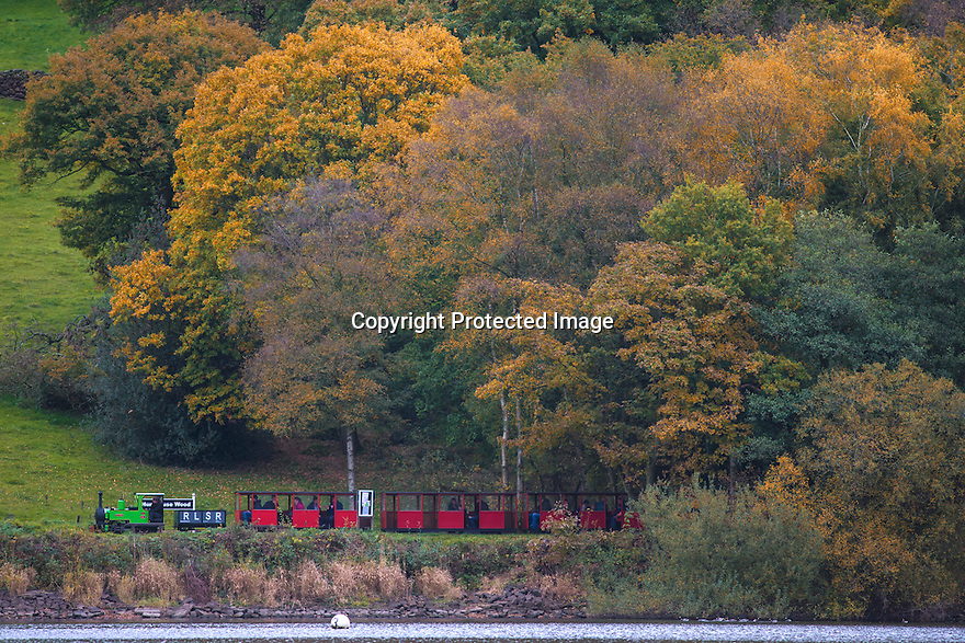 27/10/16<br /> <br /> Surrounded by stunning autumn colour, a narrow-gauge steam train makes its way along the Rudyard Lake Steam Railway along the bank of Rudyard Lake near Leek, Staffordshire.<br /> <br /> All Rights Reserved: F Stop Press Ltd. +44(0)1773 550665   www.fstoppress.com