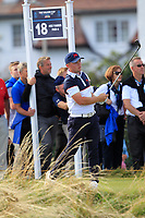 Alex Fitzpatrick (GB&I) on the 18th tee during Day 2 Singles at the Walker Cup, Royal Liverpool Golf CLub, Hoylake, Cheshire, England. 08/09/2019.<br /> Picture Thos Caffrey / Golffile.ie<br /> <br /> All photo usage must carry mandatory copyright credit (© Golffile | Thos Caffrey)
