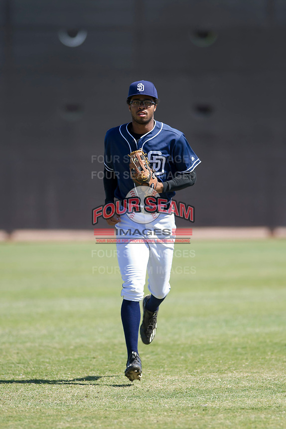 San Diego Padres outfielder Buddy Reed (56) jogs off the field between innings of an Instructional League game against the Milwaukee Brewers on September 27, 2017 at Peoria Sports Complex in Peoria, Arizona. (Zachary Lucy/Four Seam Images)